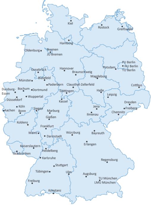 Erlangen Karte Deutschland.Physik Fachbereiche In Deutschland Kurzubersicht